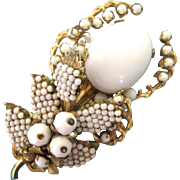 Vintage Eugene White Bead Flower Brooch