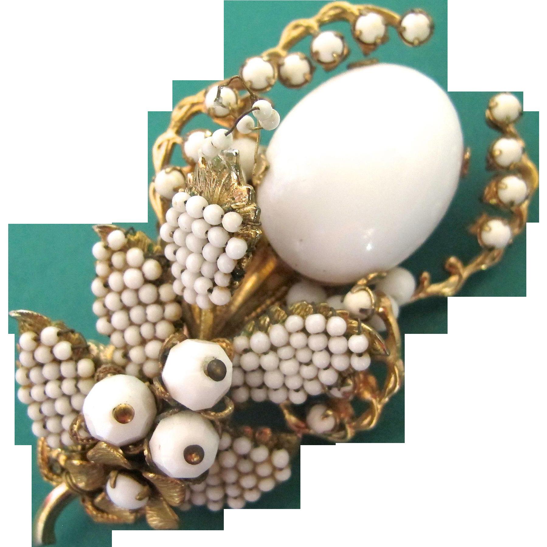 Brooch Beads: Vintage Eugene White Bead Flower Brooch From