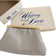 Vintage Whiting & Davis White Enamel Mesh Coin Purse - In Original Box