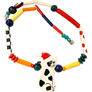 Vintage Ruby Z Santa Cat Ceramic Pendant Necklace by Candace Loheed