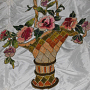 Large Antique French Chenille Embroidered Basket & Roses