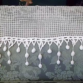 White Handmade Crochet Net Lace Valance Panel with Bobble Fringe