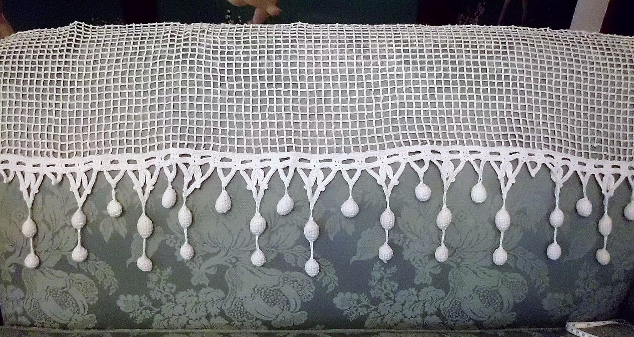 White Handmade Crochet Net Lace Valance Panel with Bobble Fringe