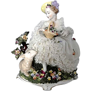 Lovely Porcelain Dresden Lace Lady Figurine w Lamb & Applied Flowers - Red Tag Sale Item