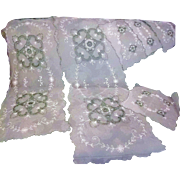 9 Piece Tambour Net lace Set of Bedspread, 6 Doilies, 2 Curtain Panels AS IS