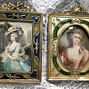Pair French GIlt Bronze Guilloche Enamel Portrait Frames