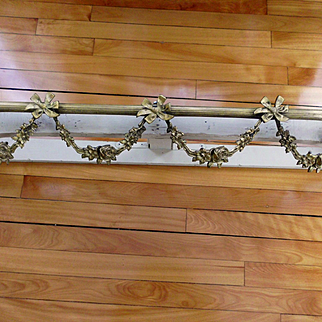 "Old Brass Metal French Bed Corona Crown or Ciel de Lit 39"" by 10"""