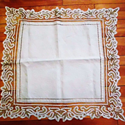Handmade Tape Lace and Linen Square Panel