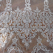"""Off-White Large French or Swiss Tambour Net Lace Panel Curtain 40"""" x 104"""""""