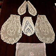 Old Handmade Brussels, Net Lace Fragments, Lappet, Collars for Doll Dress Making