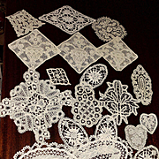 19 Small Needle Lace, Tape Lace Fragments, Ovals Rounds For Quilts Doll Dresses, Projects