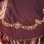 Old Embroidery on Shawl, Piano Scarf Long Ombre Silk Fringe
