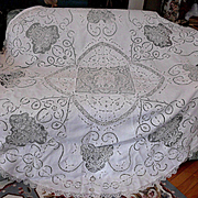 "White Work Embroidery Filet Lace Round Tablecloth 71"" in Diameter AS IS"