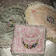 3 Piece French 1920 Boudoir Silk Normandy Lace Petit Point Ribbon Roses Hanky or Lingerie