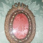 Fantastic French Gold Metallic Lace &  Ribbon Rosette Frame Salmon Silk