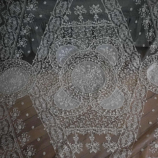 Large  Ecru French Normandy Lace Coverlet Bedspread