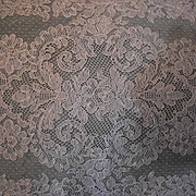 Cream French Alencon Lace Runner, Scarf, Panel 41 x 14