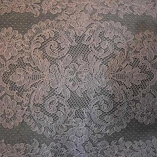 Cream French Alencon Lace Runner, Scarf, Panel 41 x 14