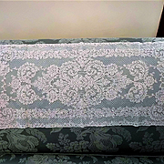 Cream French Alencon Lace Runner, Scarf, Panel 13 x 32