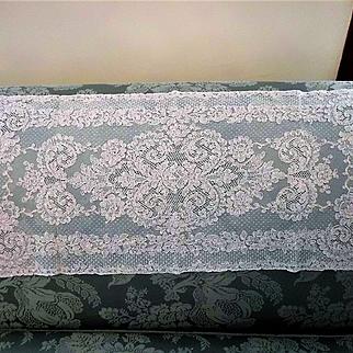 Cream French Alencon Lace Runner, Scarf, Panel 13 x 32