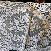 Pale Ecru French Alencon Lace Runner, Scarf, Panel 13 1/4 x 49