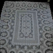 Pale Ecru French Alencon Lace Tablecloth 63 x 86