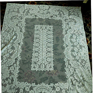 Palest Cream French Alencon Lace Tablecloth 54 X 76