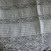 White Muslin Cotton Pintuck Lace Petticoat Flounce