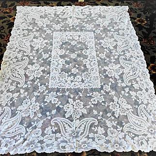 """Cream French Alencon Lace Tablecloth 60"""" x 80"""""""