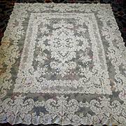 """Creamy White French Alencon Lace Tablecloth 63 """" x 81"""""""