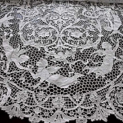 "Fabulous White Figural Needlelace Cloth Lace Tablecover Tablecloth Panel 34"" x 101"""