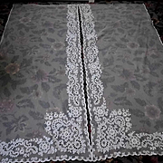 "2 Pairs White French Tambour Net Lace Panels 36"" x 84"" AS IS"