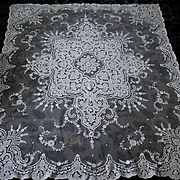 "White French or Swiss Tambour Net Lace Panel Tablecloth 66"" x 77"""