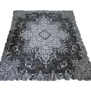 """White French or Swiss Tambour Net Lace Panel Tablecloth 66"""" x 77"""""""