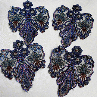 4 Delicate French Beaded Beadwork Appliques on Black Net