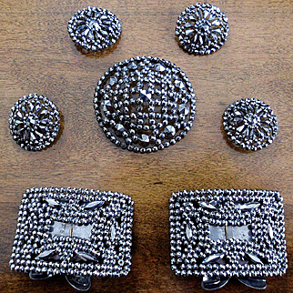 French Steel Cut Buttons, Shoe Buckles, Beaded Net Lace Trim