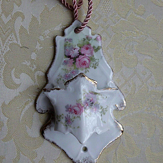 Hanging Porcelain Match Safe w Pink Porcelain Flowers