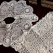 Old  Soft White French Embroidery Net Lace Collar and Dress or Bodice Front