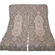 Pair Pale Ecru Net Lace Dresser Runners, Scarf or Panels