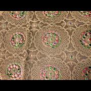 Pair Ecru Multi-colored  Machine Embroidery Net Lace Runners