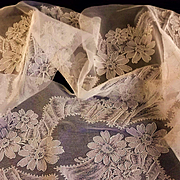 Wide French Alencon Net Lace Yardage with Ribbons & Flowers