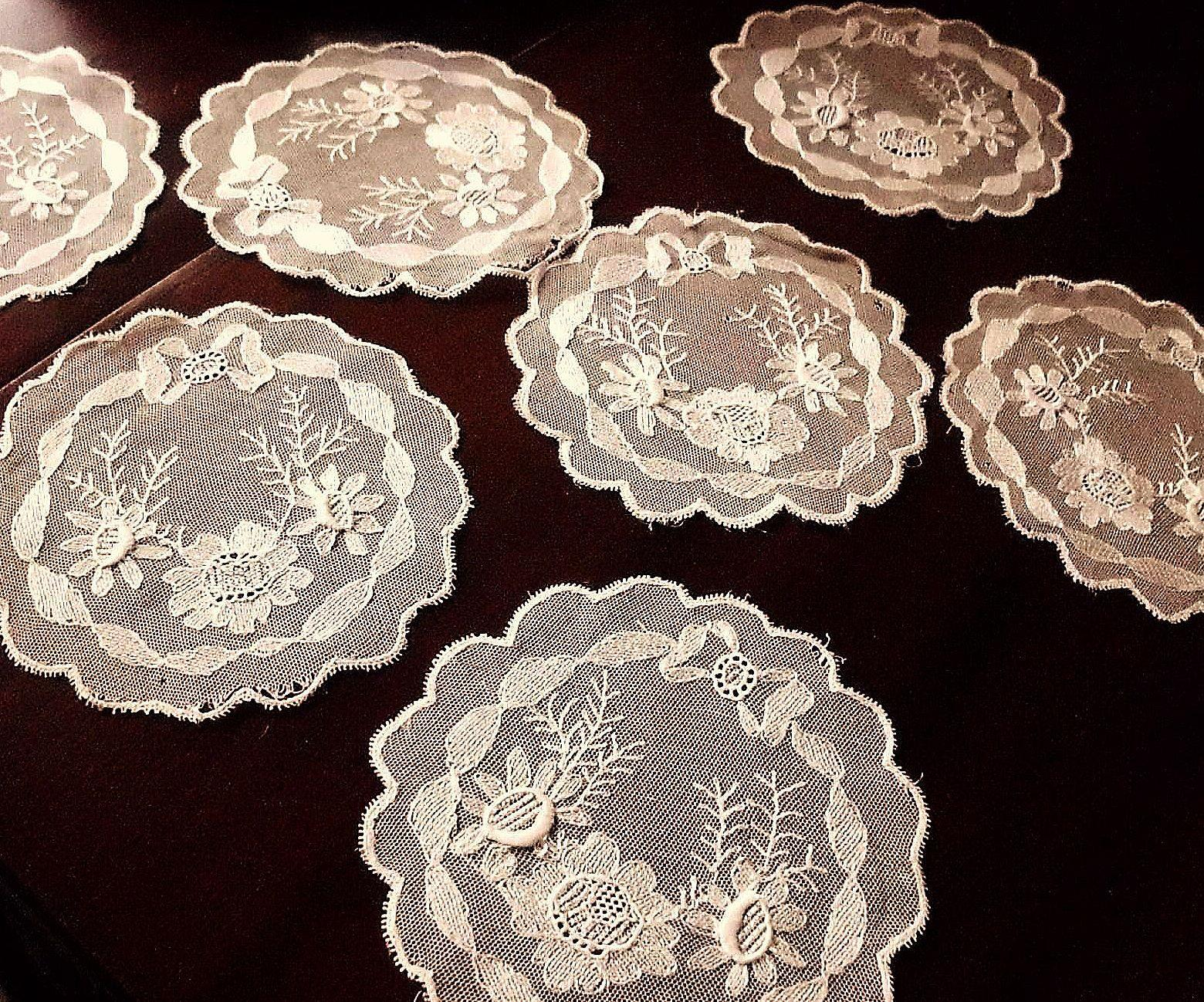 7 Blond or Light Ecru Silk Net Lace Doily for Projects, Sewing, AS IS