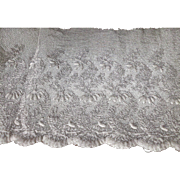 """White  Machine Embroidery French Net Lace 45"""""""