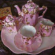Bright   Pink  Luster  Doll Tea Set  Germany