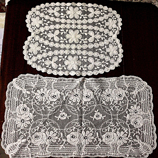 2 French Net Lace Doily or Mat, Panel w Heavy Embroidery