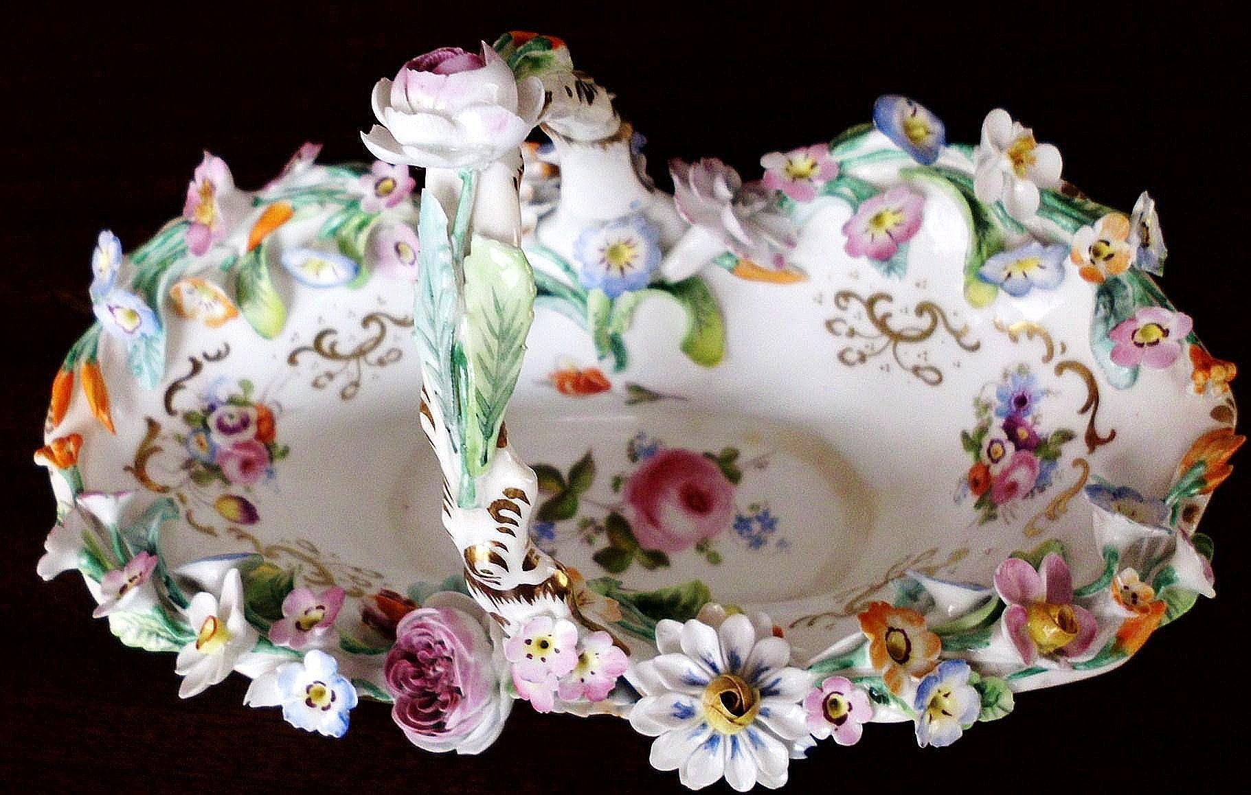 Floral Encrusted Porcelain Basket Chamberlains Worcester Coalbrookdale Coalport unmarked