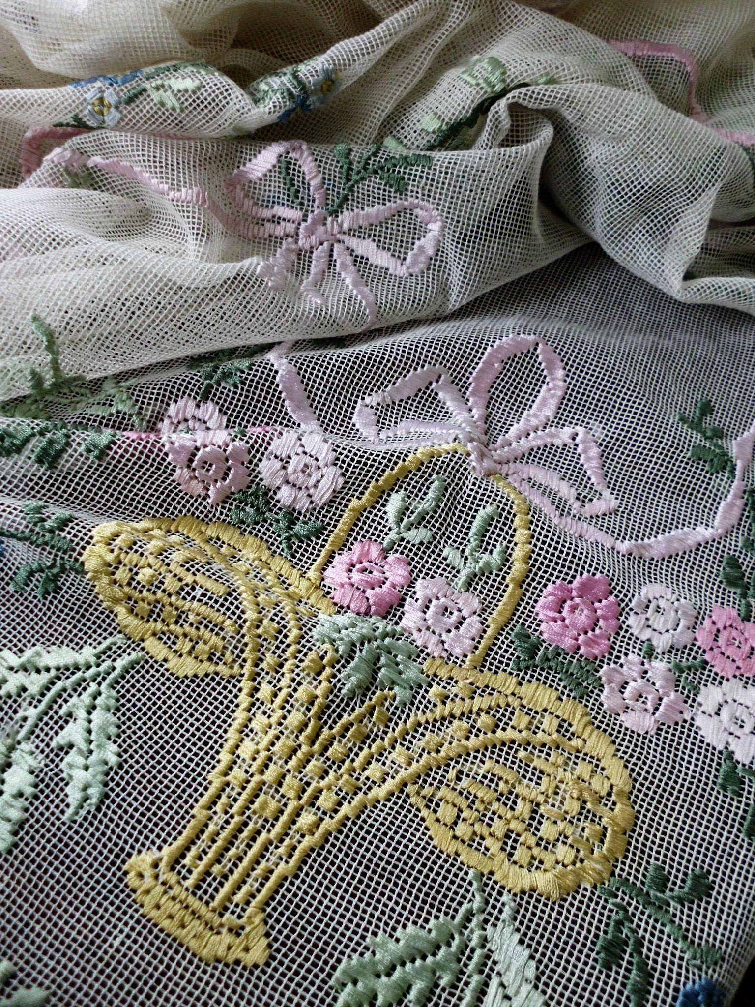 Ribbon embroidery bedspread designs - Vintage Ribbon Embroidery Net Lace Bedspread Coverlet W Roses Garlands And Baskets 88 X 103
