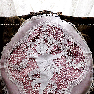 White Muslin Figural Hand Made Needle Lace Angel Cherub Pillow Cover