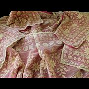 Large Set of 6 Ecru French Embroidery Net Lace Boudoir Dresser Set w Silk