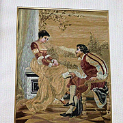 Old Framed Silk Embroidery Romantic Man and Lady Couple